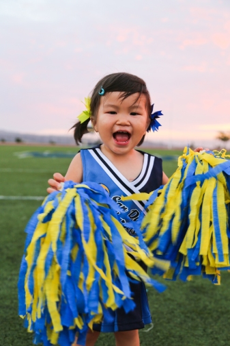 Happy Chargers cheerleader